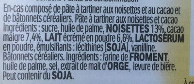 Nutella & Go ! Pâte à tartiner et gressins - Inhaltsstoffe - fr