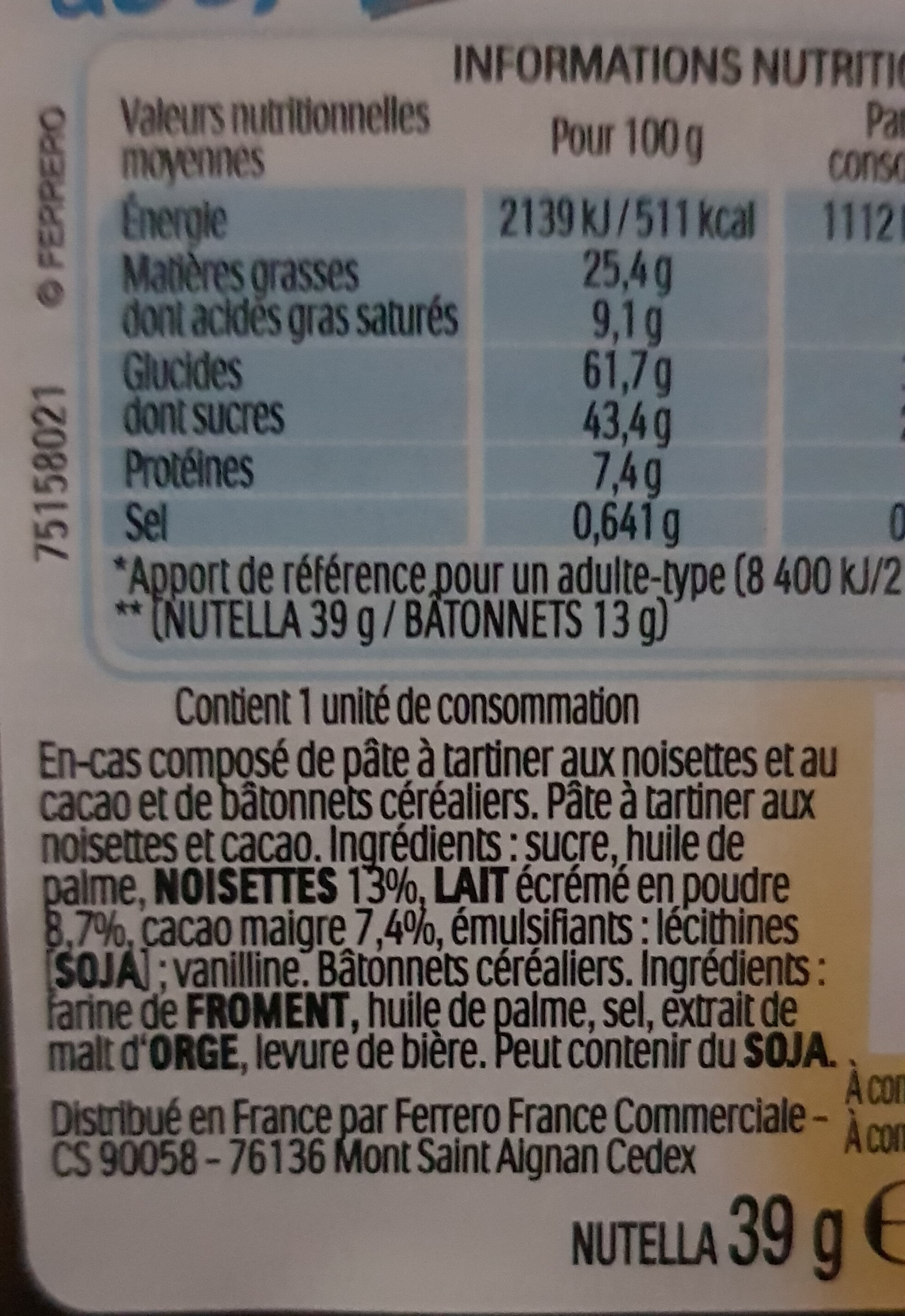 NUTELLA & GO biscuits - Nutrition facts - fr