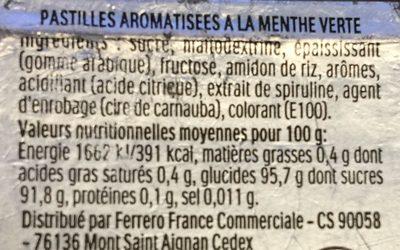 Tic Tac - Spearmint - Ingrediënten - fr