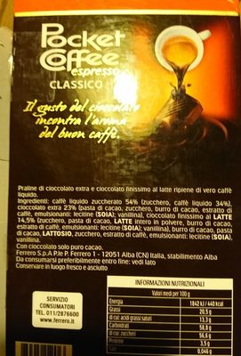 Pocket coffee espresso - Ingredients