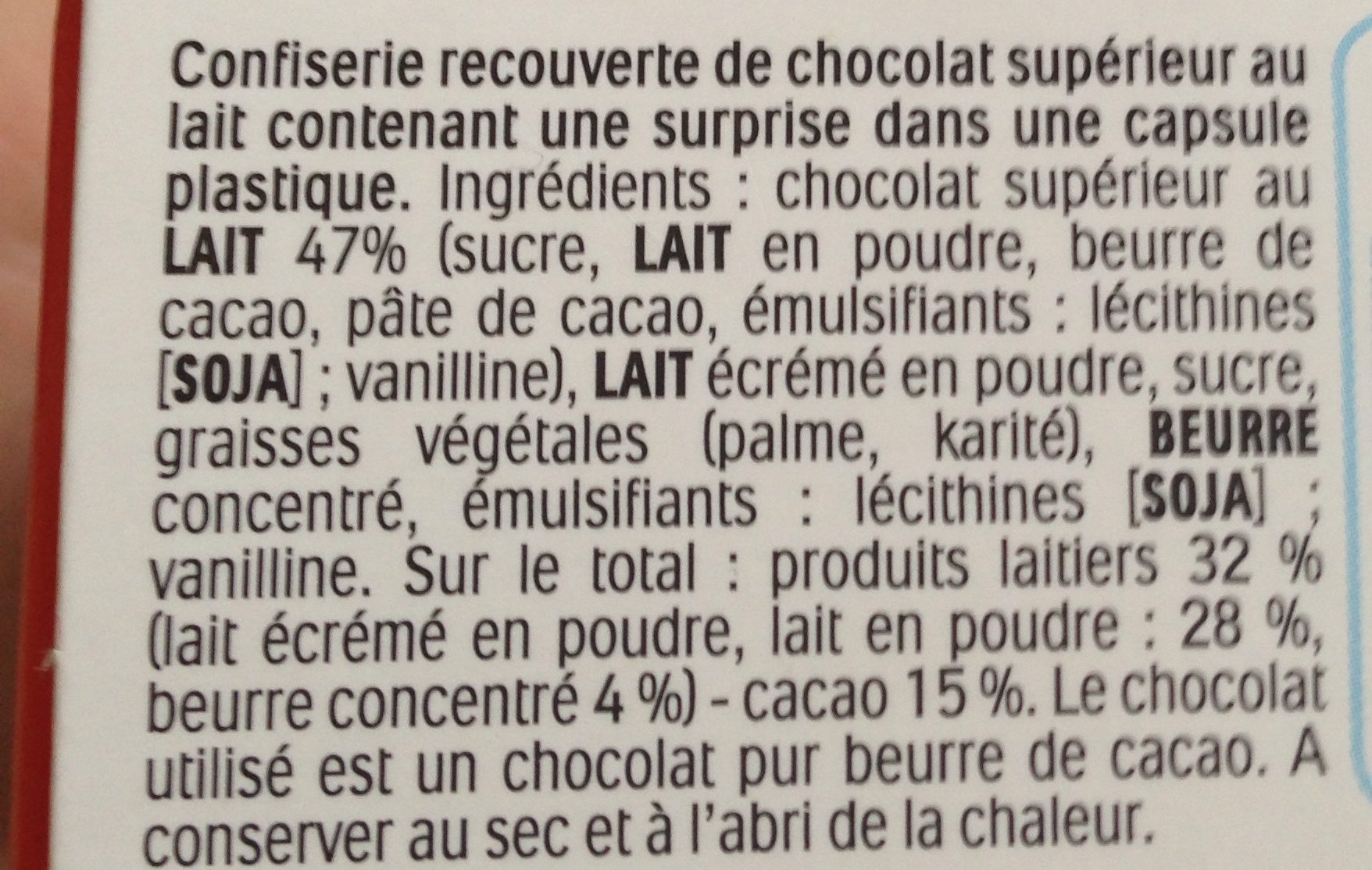 Kinder Surprise - Ingredientes