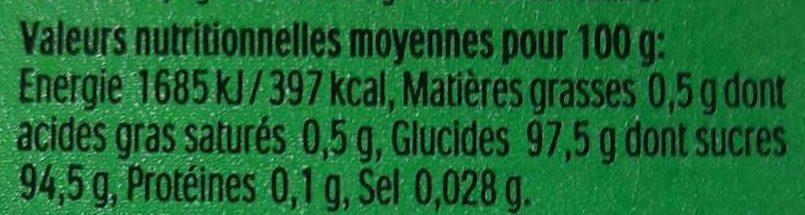 Tic Tac Menthe - Informations nutritionnelles