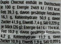 Duplo Chocnut - Informations nutritionnelles - de