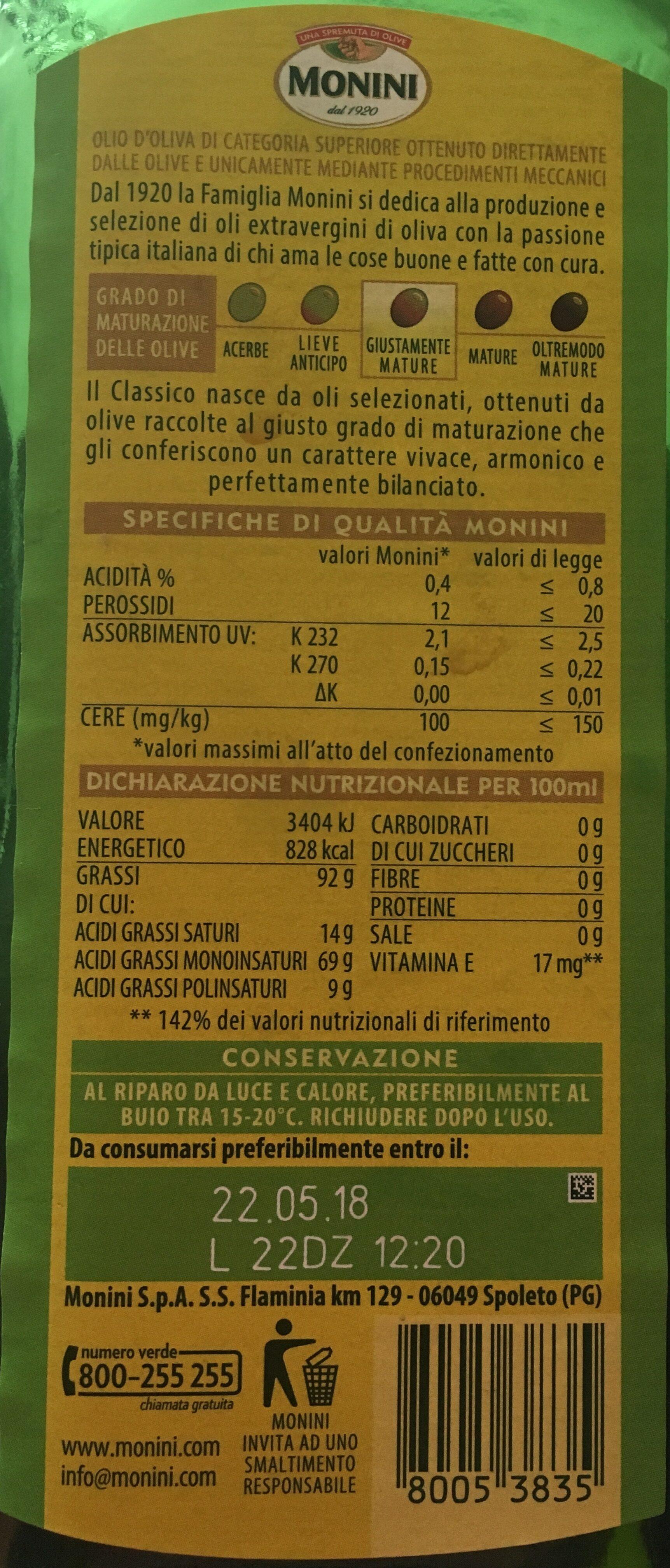 Monini Classico Olio Extra Vergine - Ingredienti - it