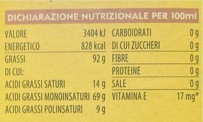 Monini Classico Olio Extra Vergine - Valori nutrizionali - it