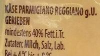 Parmesan gerieben - Inhaltsstoffe - de