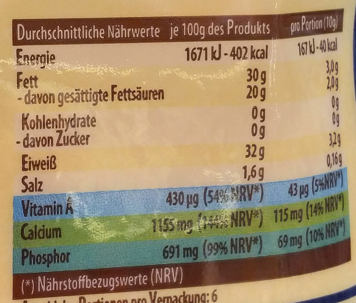 Parmesan gerieben - Nährwertangaben - de