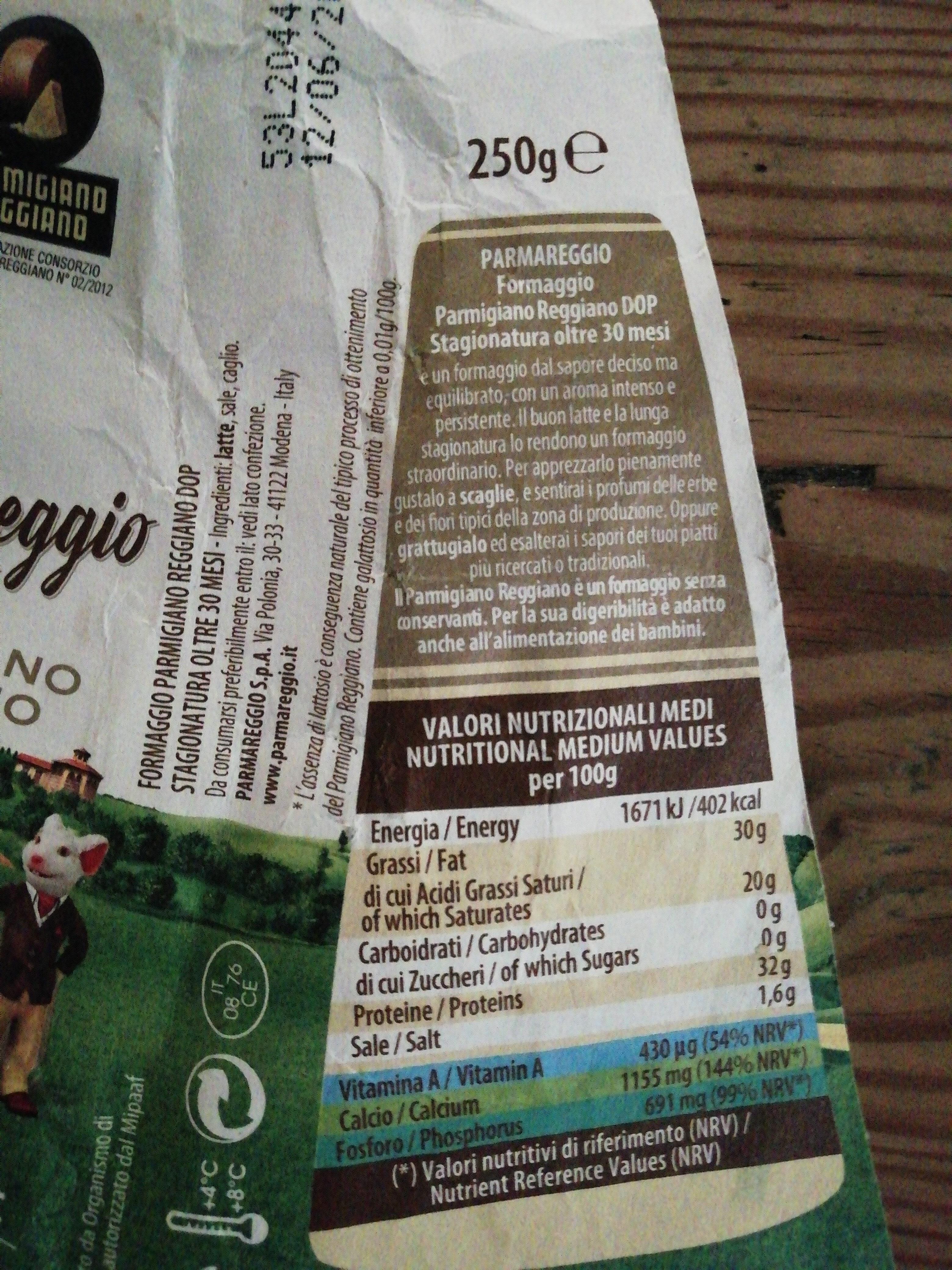 Parmigiano Reggiano 30 Mois D. o. p - Ingrediënten - fr