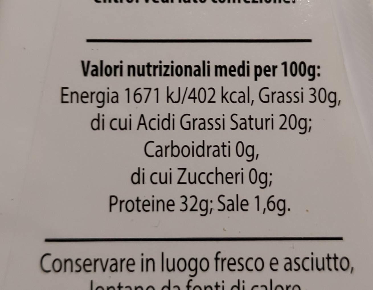 Parmigiano Reggiano - Valori nutrizionali - it