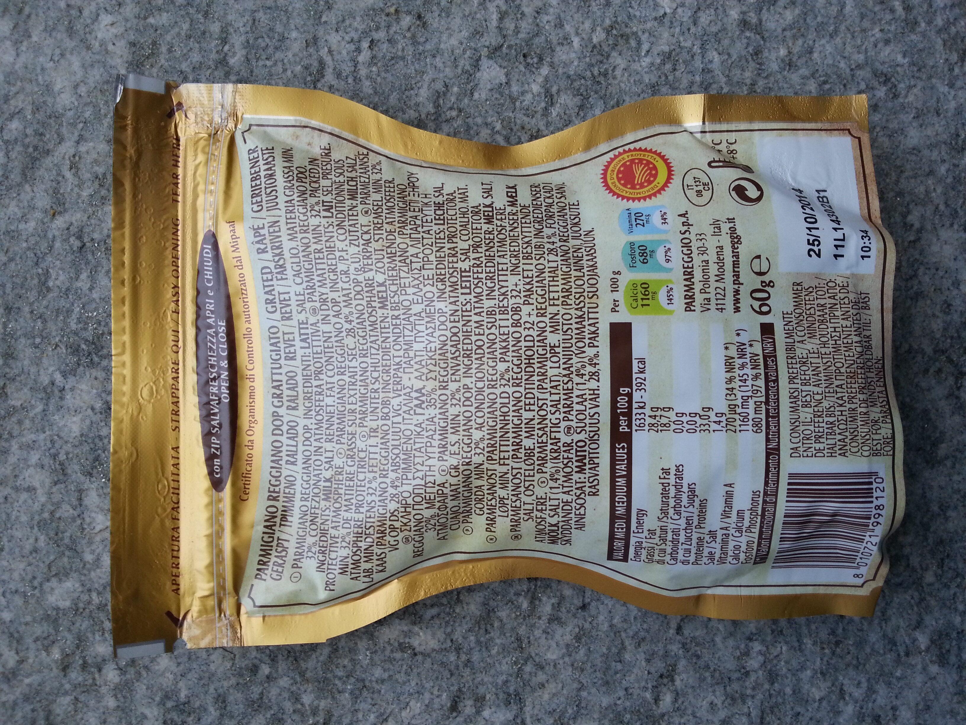 Parmareggio - Parmigiano reggiano DOP 30 mesi grattugiato - Ingredientes