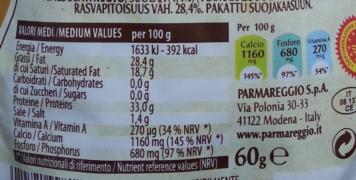 Parmareggio - Parmigiano reggiano DOP 30 mesi grattugiato - Informazioni nutrizionali