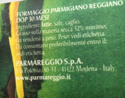 Parmigiano Reggiano 30 Mois D. o. p - Ingredients