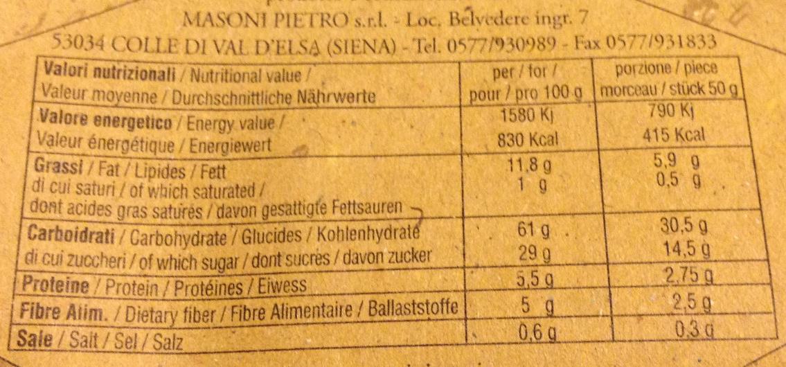 Panforte Fichi e Noci - Voedingswaarden