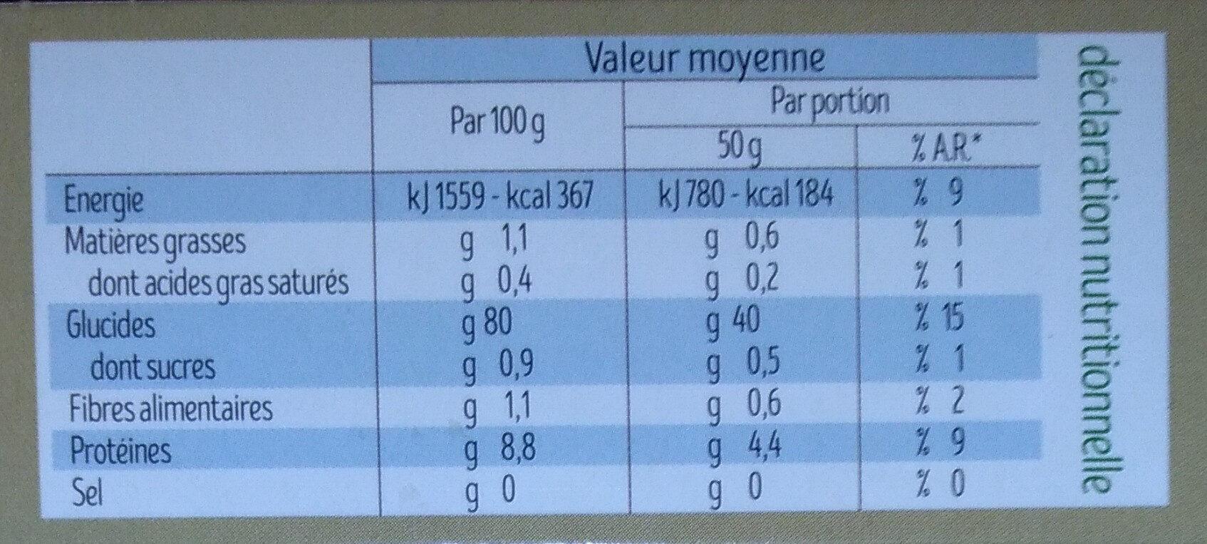 Couscous de Riz Bio - Nutrition facts - fr