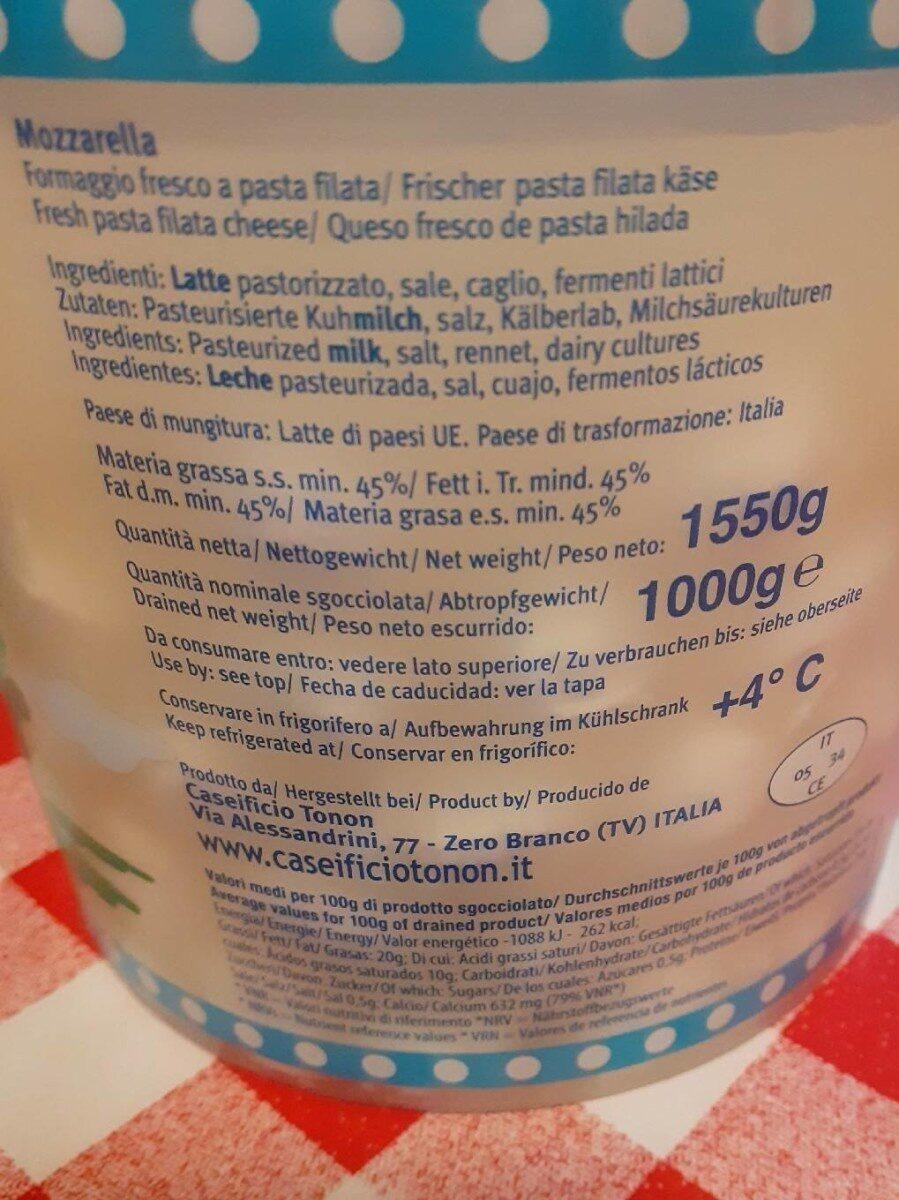 Mozzarella Cerise 5 g 20 % - Nutrition facts - fr