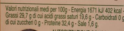 Parmigiano Reggiano - Valori nutrizionali - fr