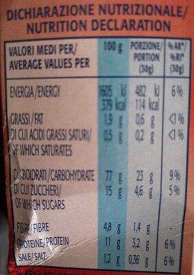 Fiocchi di Riso e Frumento Integrale con Frutti Rossi Disidratati - Nutrition facts