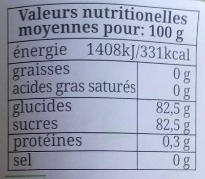 Miel italien de fleurs de Sainfoin bio - Informations nutritionnelles