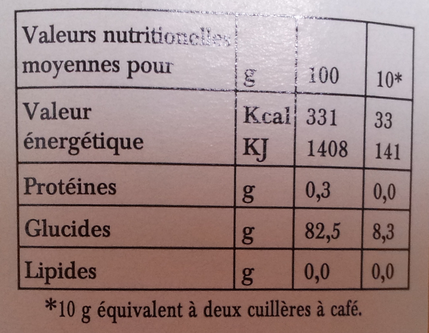 Miel d'Oranger du sud de l'italie - Nutrition facts - fr