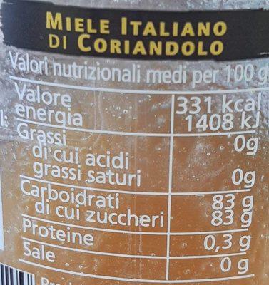 Miele Italiano di Coriandolo - Informations nutritionnelles - fr