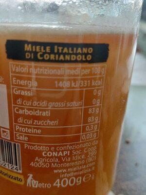 Miele Italiano di coriandolo - Voedingswaarden - it