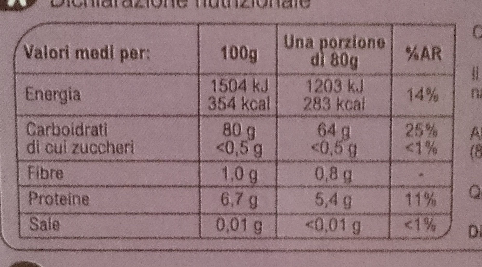 Riso Roma - Nutrition facts - it