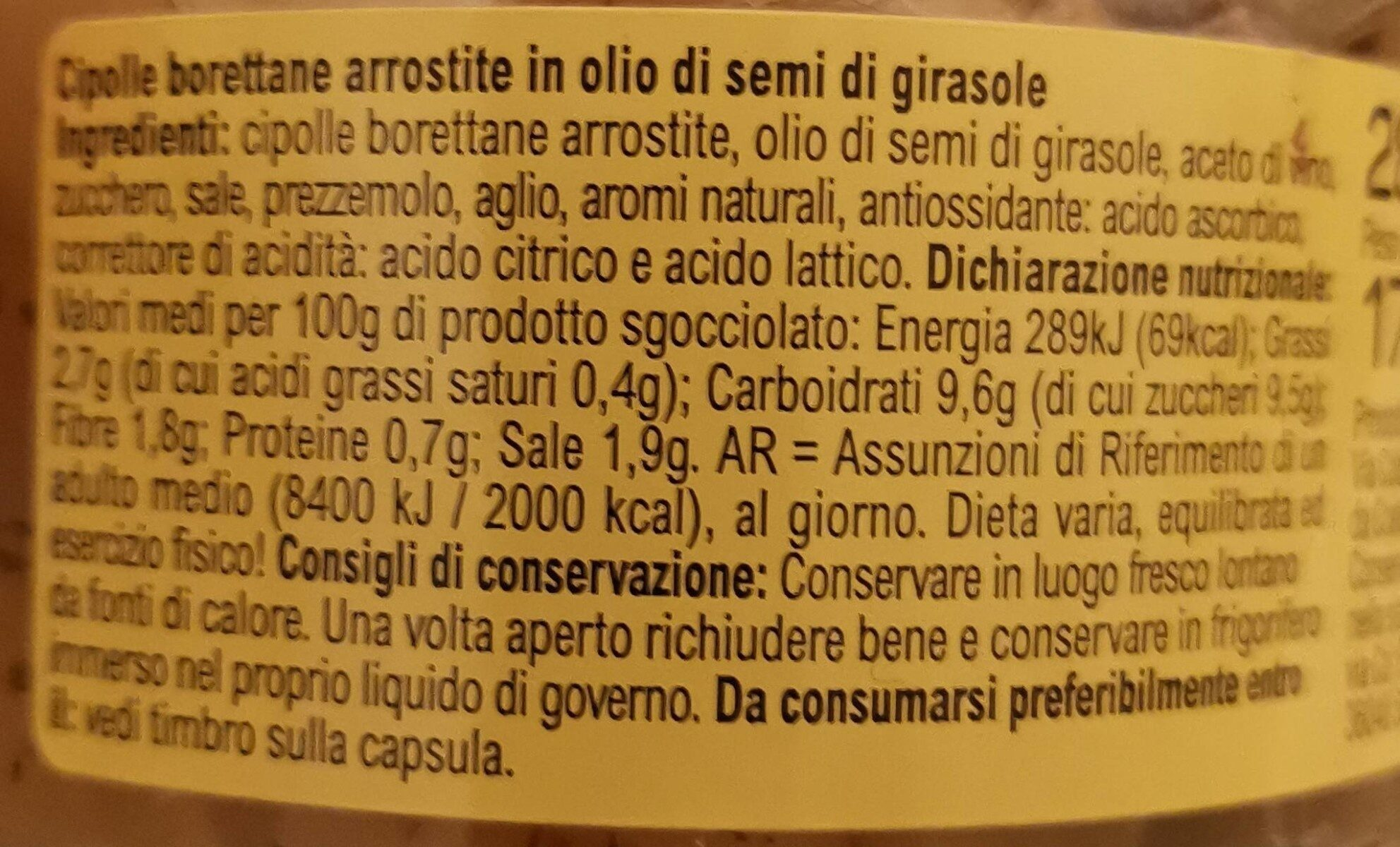 Specialità cipolle borettane arrostite - Nutrition facts - it