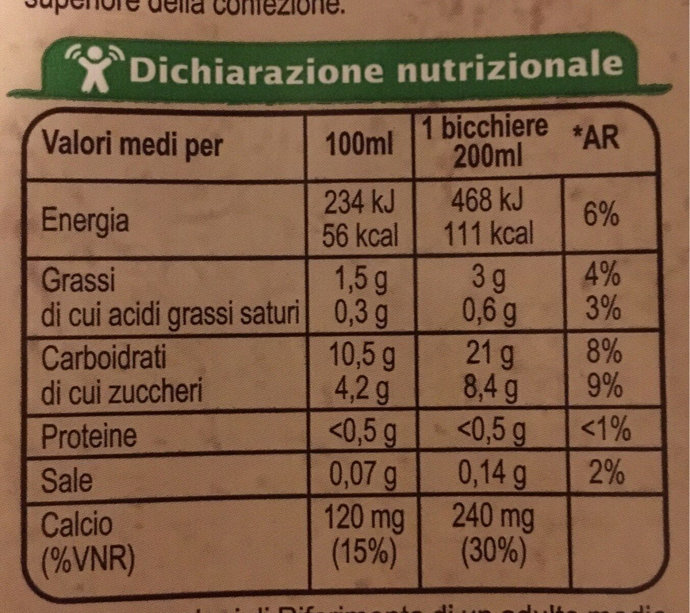 Drink riso - Nutrition facts