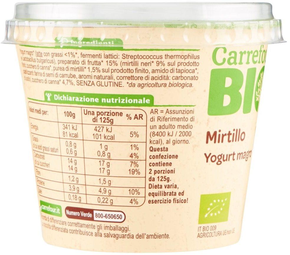 Yogurt Magro Mirtillo in Pezzi - Nutrition facts
