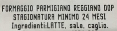 Parmigiano reggiano DOP - stagionatura minima 24 mesi - Ingredients