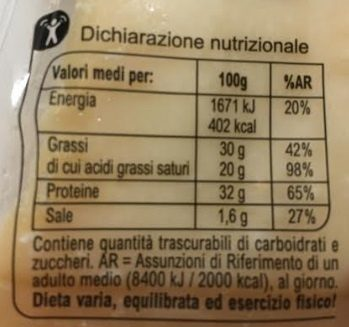 Parmigiano reggiano DOP - stagionatura minima 24 mesi - Informations nutritionnelles