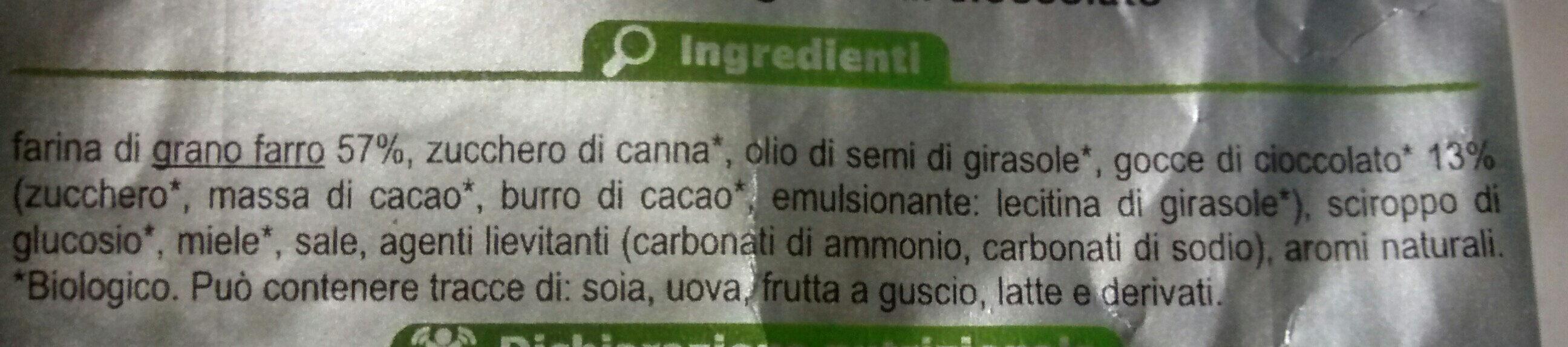 Biscotto al farro con gocce di cioccolato - Ingredients - it