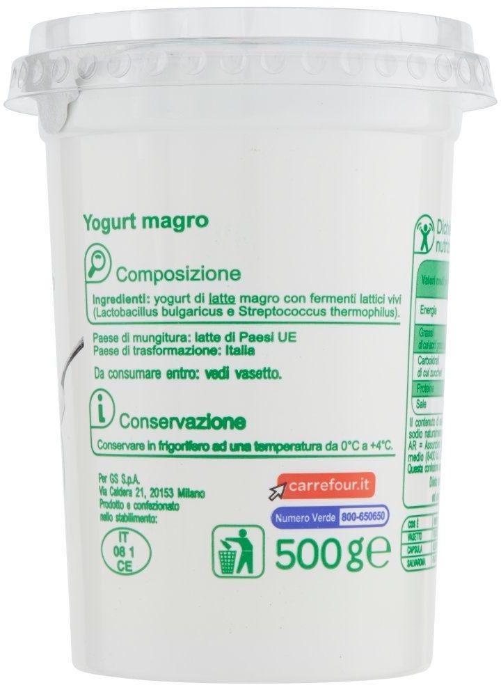 Yogurt magro bianco - Ingrédients