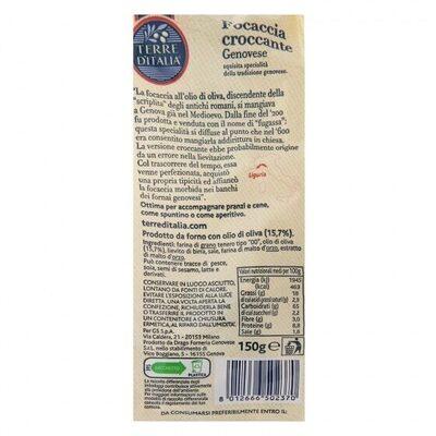 Focaccia croccante trozos - Informations nutritionnelles