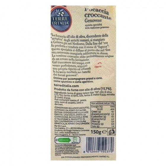 Focaccia croccante trozos - Informations nutritionnelles - es