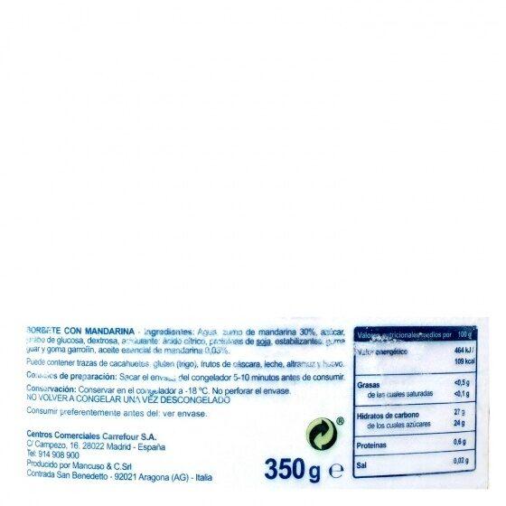 Sorbete de sicilia mandarina - Nutrition facts - es