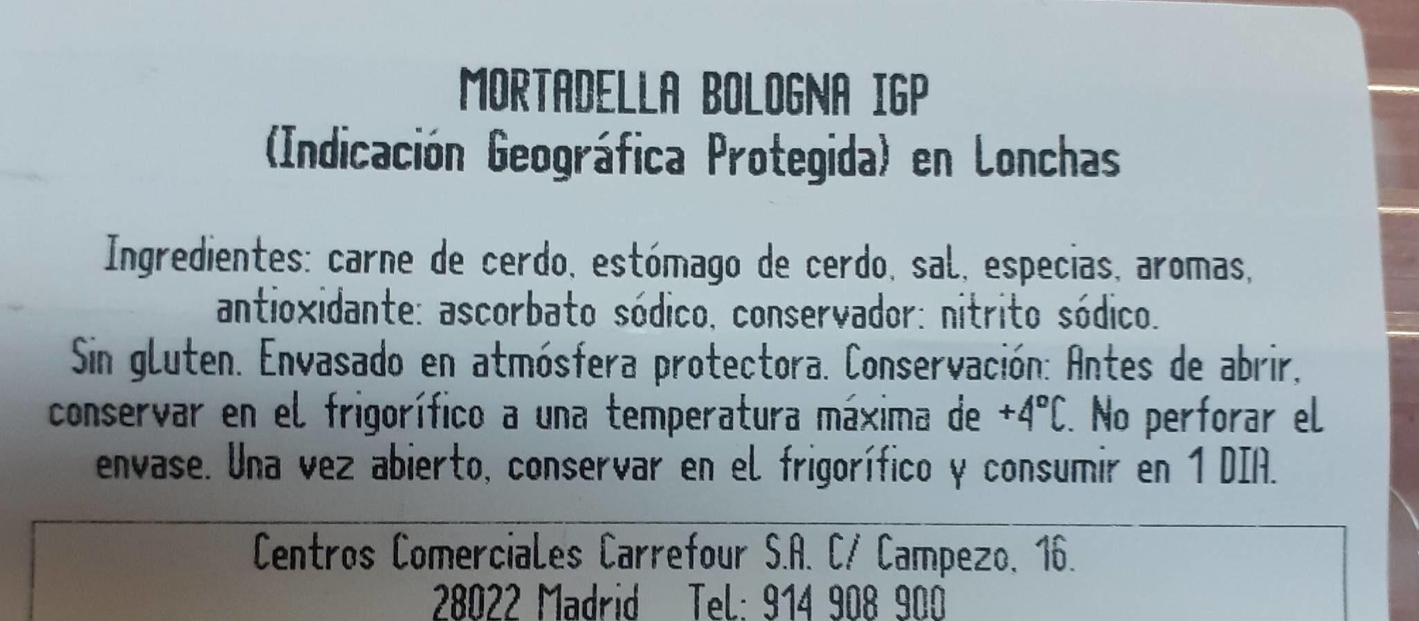 Mortadella Bologna IGP - Nutrition facts - es