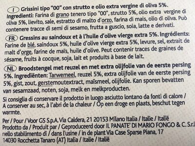 Grissini Stirati - Ingredients - fr