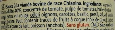 Ragù Toscano di carne Chianina - Ingrédients