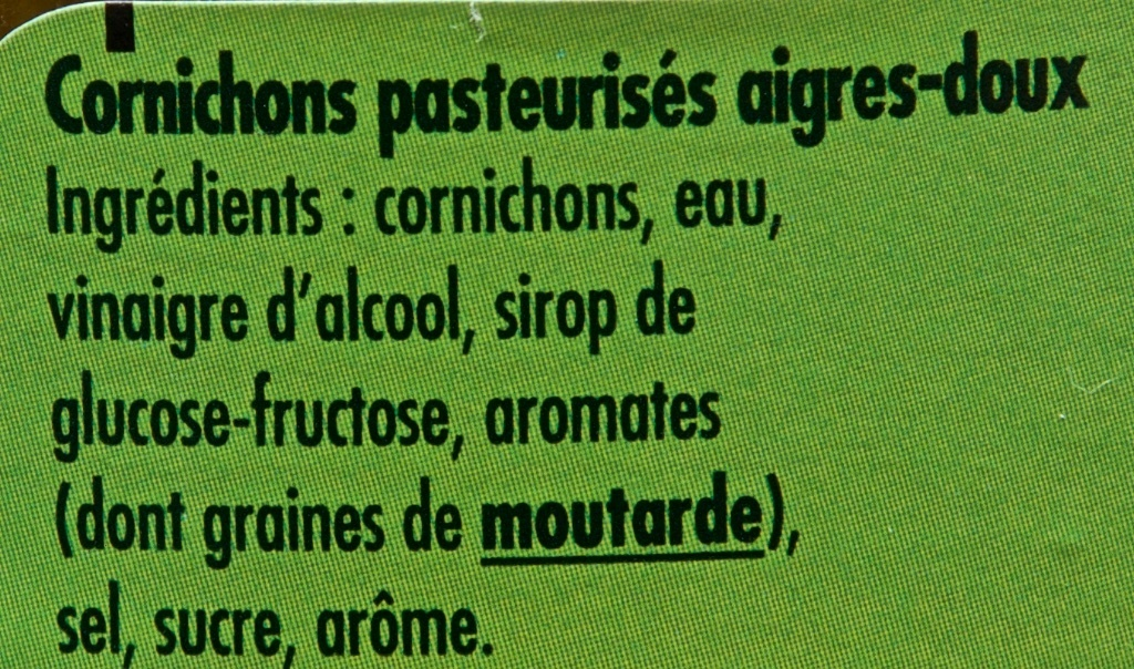 Cornichons Recette Paysanne Aigres-doux - Ingredients - fr