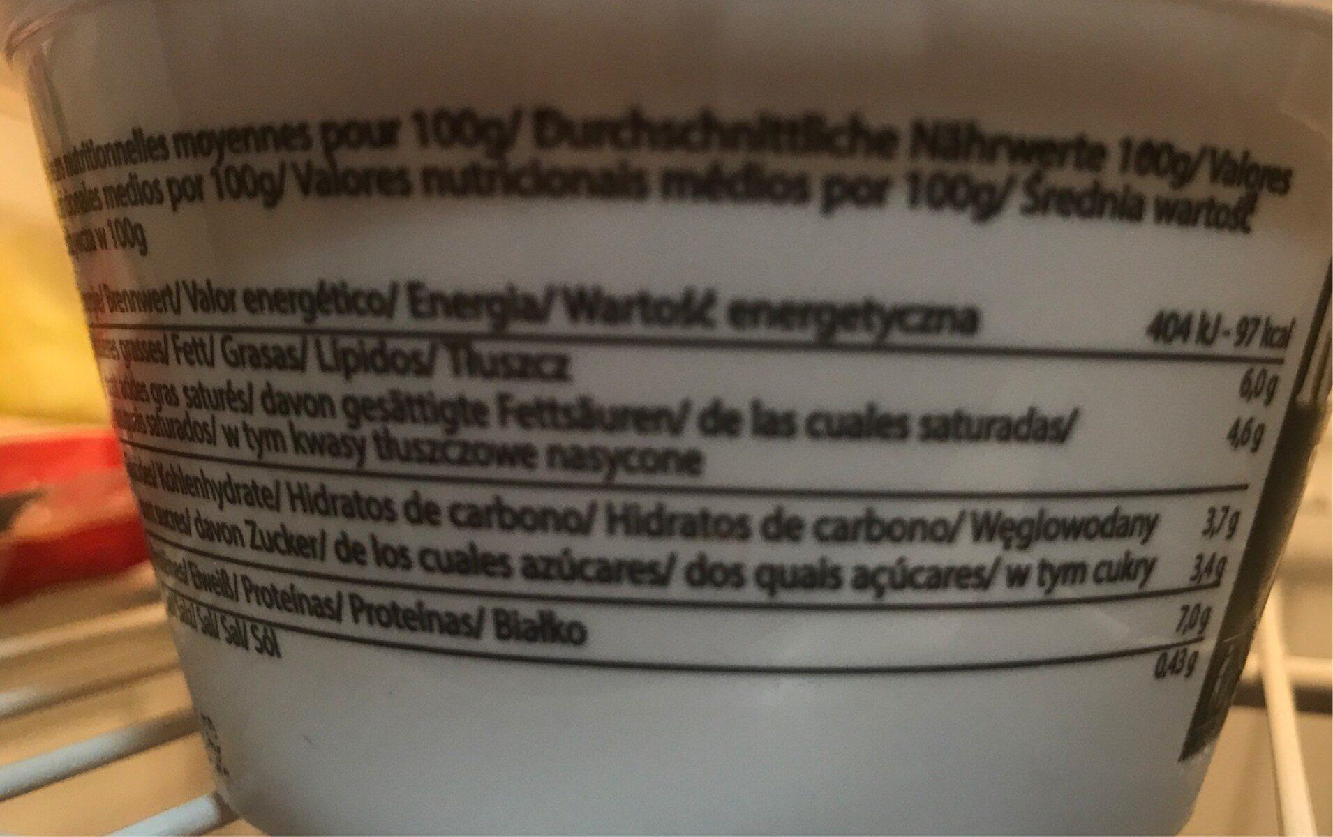 Ricotta - Informació nutricional