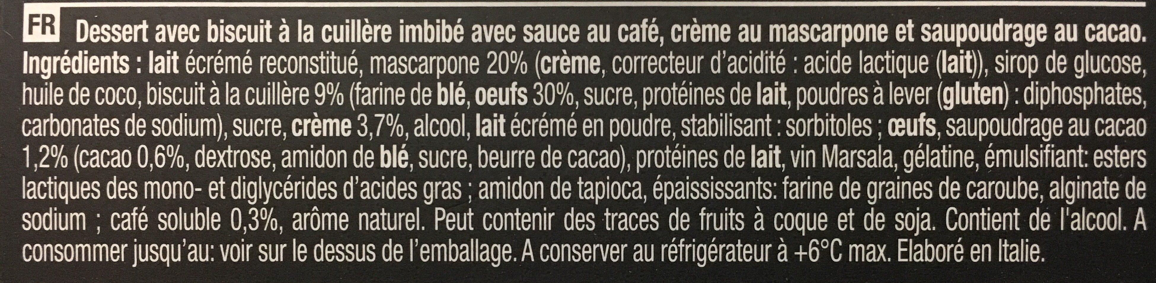 Tiramisù Tradizionale - Ingredienti - fr