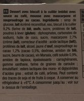 Tiramisu - Ingrediënten - fr