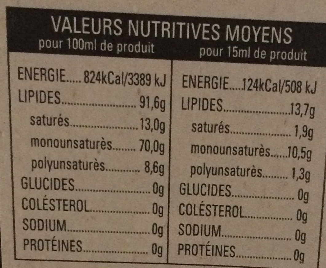 Huile d'olive Vierge Extra - Voedingswaarden