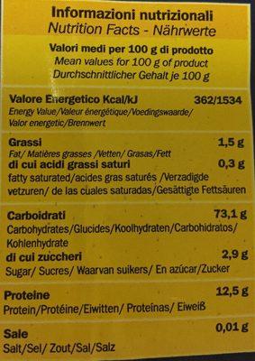 Mezze Maniche Trafilate Al Bronzo - Ingrediënten - it