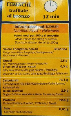 Lumache Trafilate Al Bronzo - Voedingswaarden - fr