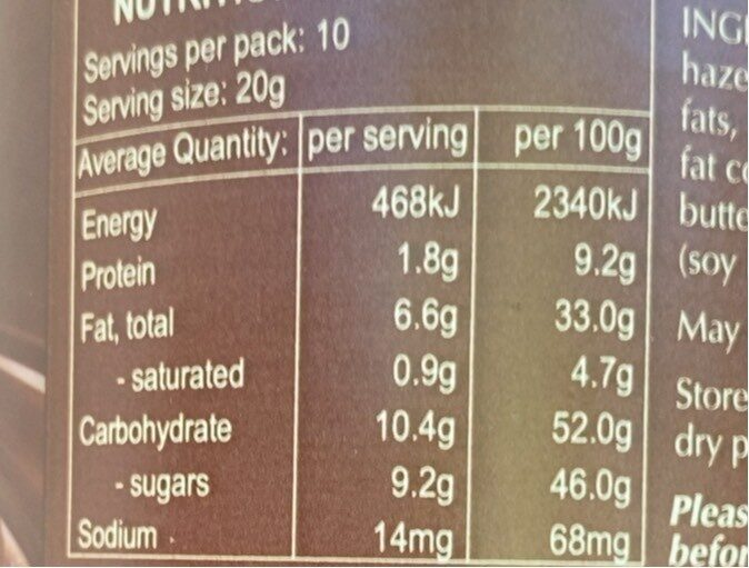 Hazelnut Spread - Nutrition facts - en