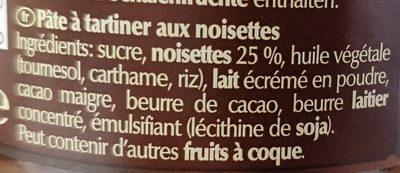 Crème noisette - Ingredients