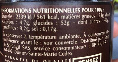 Pate à tartiner 25% de noisettes - Nutrition facts - fr