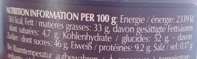 Crème noisette - Valori nutrizionali - fr